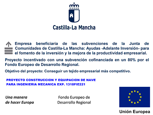 Company benefiting from the subsidies of the JCCM - European Regional Development Fund